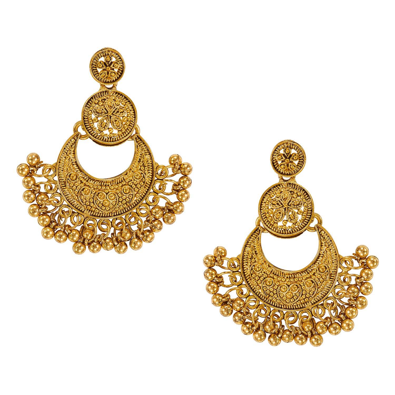 2238b72c0 Aheli Elegant Wedding Wear Antique Look Golden Oxidized Chandbali Dangle  Earrings Bollywood Party Ethnic Indian Traditional Jewelry for Women