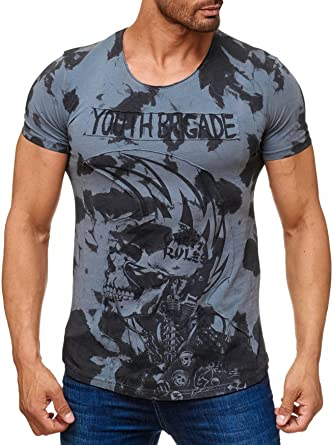 ArizonaShopping   T Shirts Herren T Shirt Allover Dirty Batik Print Skull  Punk H2162,