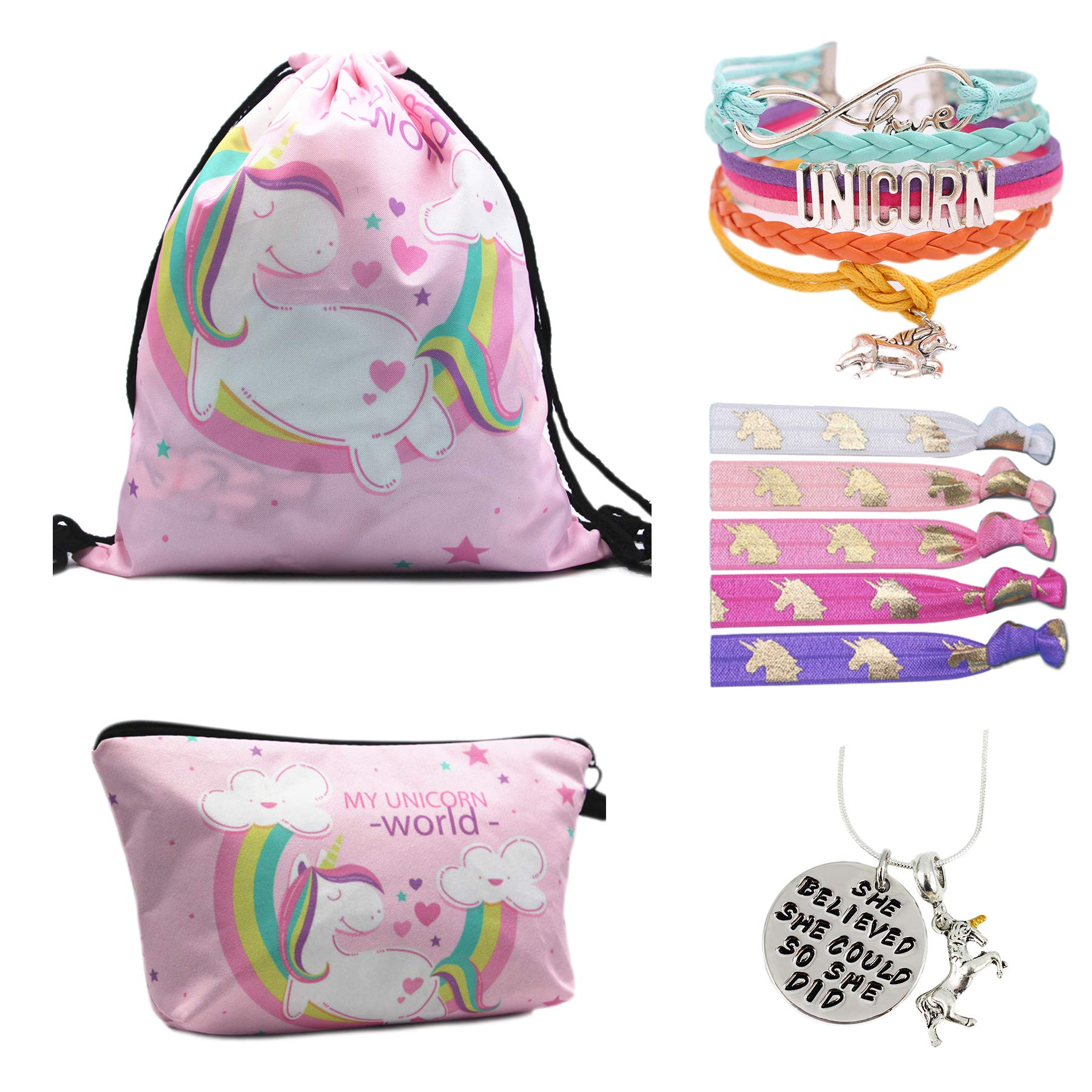 Unicorn Gifts for Girls - Unicorn Drawstring Backpack/Makeup Bag/Bracelet/Inspirational Necklace/Hair Ties