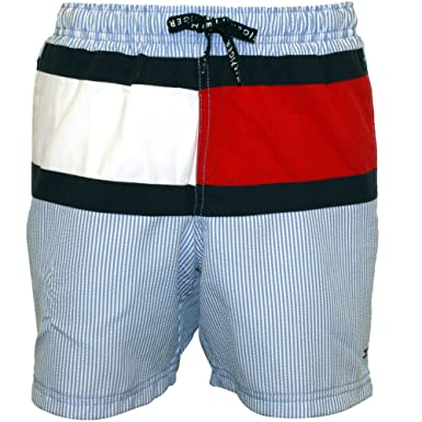 c31785da43 Tommy Hilfiger Ithaca Stripe Flag Logo Boys Swim Shorts, Blue: Tommy ...