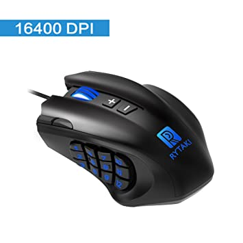 Rytaki Gaming Mouse, R6 50 to 16400 DPI High Precision Laser MMO Gaming  Mice, 19 Programmable Buttons, 12 Side Buttons,6 Adjustable DPI Levels, 4