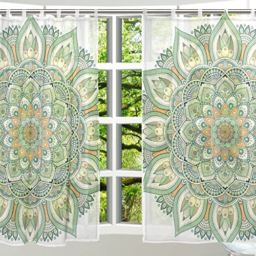 ALAZA Window Decoration Sheer Curtain Panels,Shabby Chic Art Vintage Retro Floral Flower,Door Window Gauze Curtains Living Room Bedroom Kid's Office Window Tie Top Curtain 55×78 inch Two Panels Set