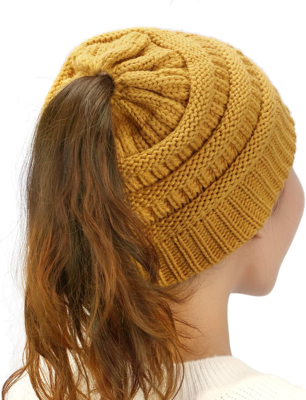 Dafunna Bonnet Chapeau Femme Laine Tricot Chapeau de pr/êle Queue de Cheval pour Hip-hop Hiver