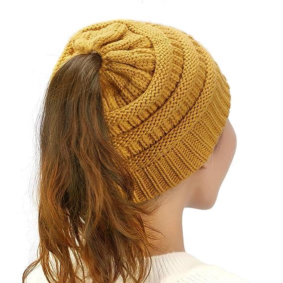 Dafunna Mujer Gorros de Punto Coleta Beanie Sombrero Invierno Suave Cálido  Elástico Ponytail Beanie Hat ( 25b0d643ba6