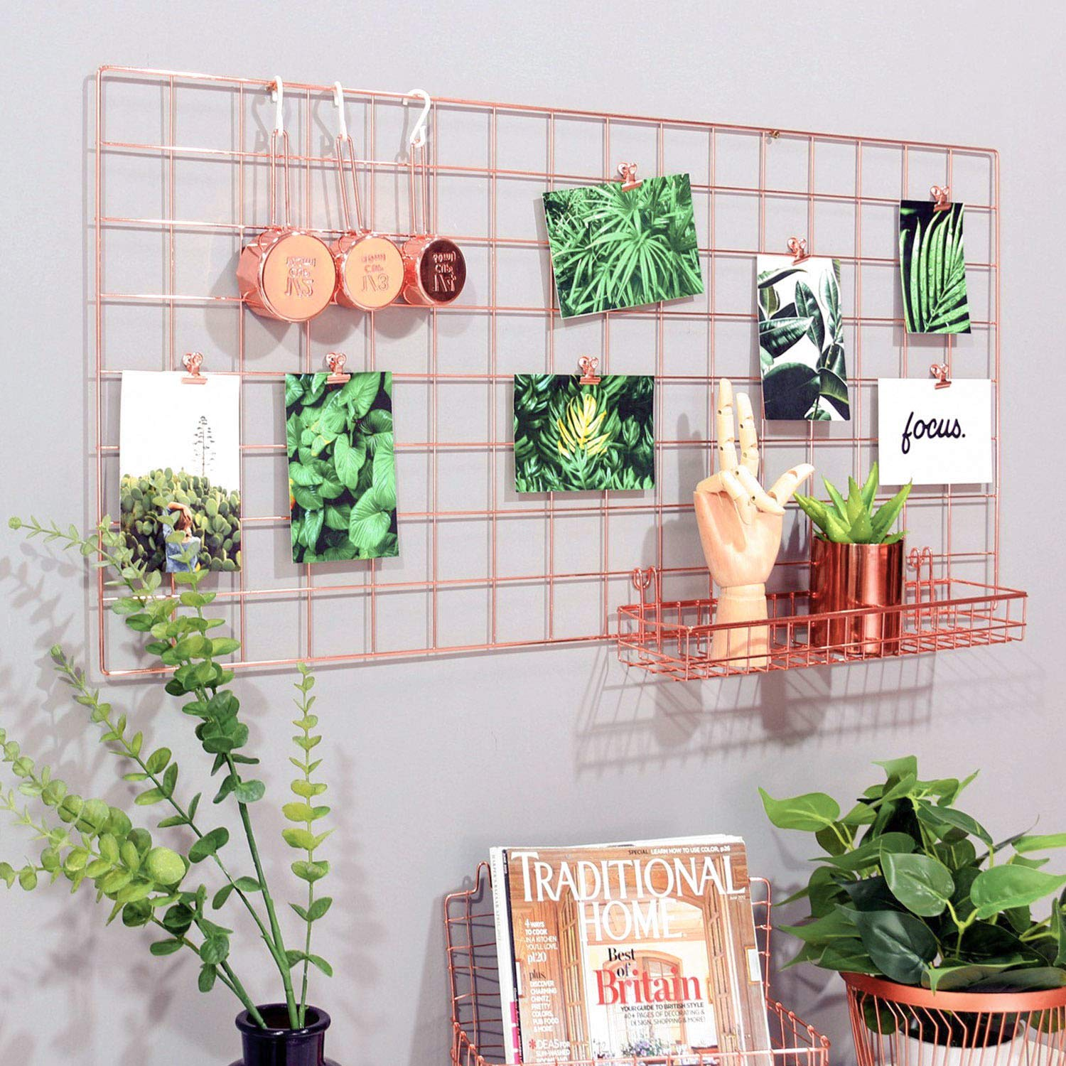 Simmer Stone Rose Gold Wall Grid Panel for Photo Hanging Display & Wall Decoration Organizer, Multi-Functional Wall Storage Display Grid, 5 Clips & 4 Nails Offered, Set of 1, Size 17.7''x37.4''