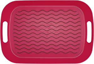 ChopMaster Large Rectangular Anti Slip Serving Tray with Handle (Red)