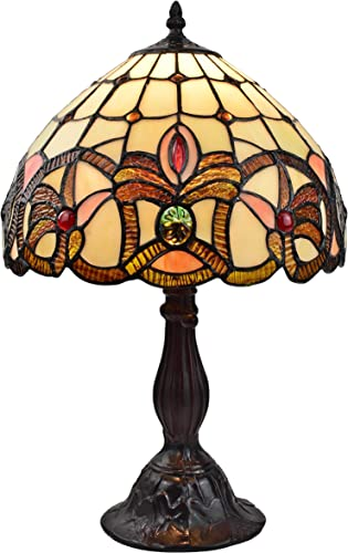Amora Lighting Tiffany Style Table Lamp Banker 19 Tall Stained Glass Tan Brown Red Vintage Antique Light D cor Living Room Bedroom Night Stand Handmade Gift AM336TL12, Multicolor