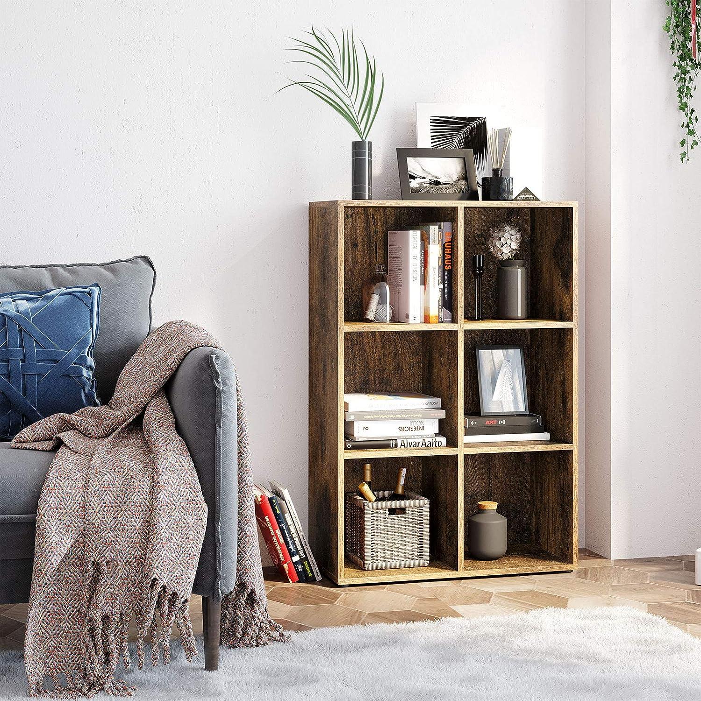 VASAGLE Bücherregal mit 8 Fächern, Würfelregal, Standregal, für Wohnzimmer,  Schlafzimmer, Büro, 88,8 x 8 x 8,8 cm, Vintage, dunkelbraun LBC8BX