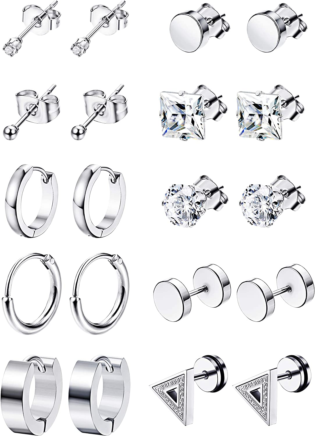 LOYALLOOK 10Pairs Stainless Steel Earrings For Men CZ Stud Earring Tiny Ball Stud Earrings Cartilage Earrings Endless Hoop Earrings For Men Silver Tone