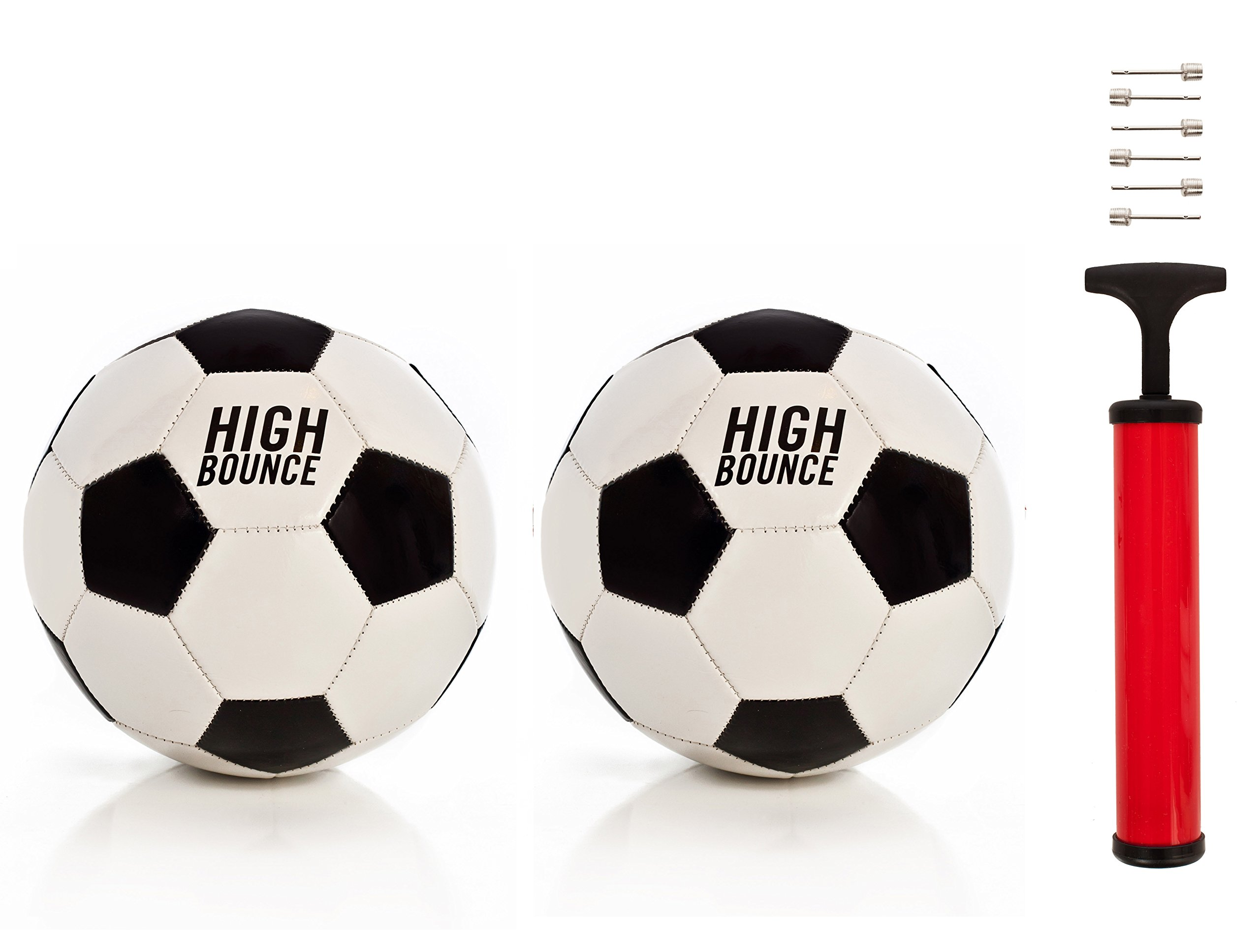 High Bounce Traditional Soccer Ball official size set of 2 including Pump & needles by High Bounce