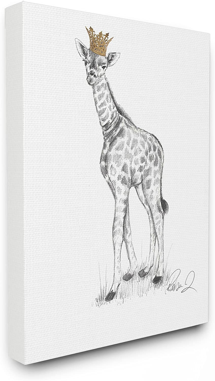 30 x 40 Multicolor The Stupell Home Decor Collection Giraffe Royalty Graphite Drawing Stretched Canvas Wall Art
