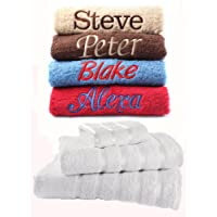 Dream Zone Personalised Embroidered Towels Ideal Gift Set ANY NAME | Face Cloth | Hand Towel | Bath Towel | Bath Sheet | Guest Towel Sets | Beach Swimming Towel | Supreme 100% Egyptian Cotton 550GSM