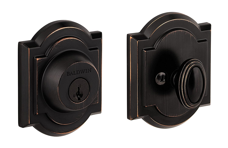 Baldwin Prestige 380 Arched Single Cylinder Deadbolt Featuring SmartKey in Venetian Bronze