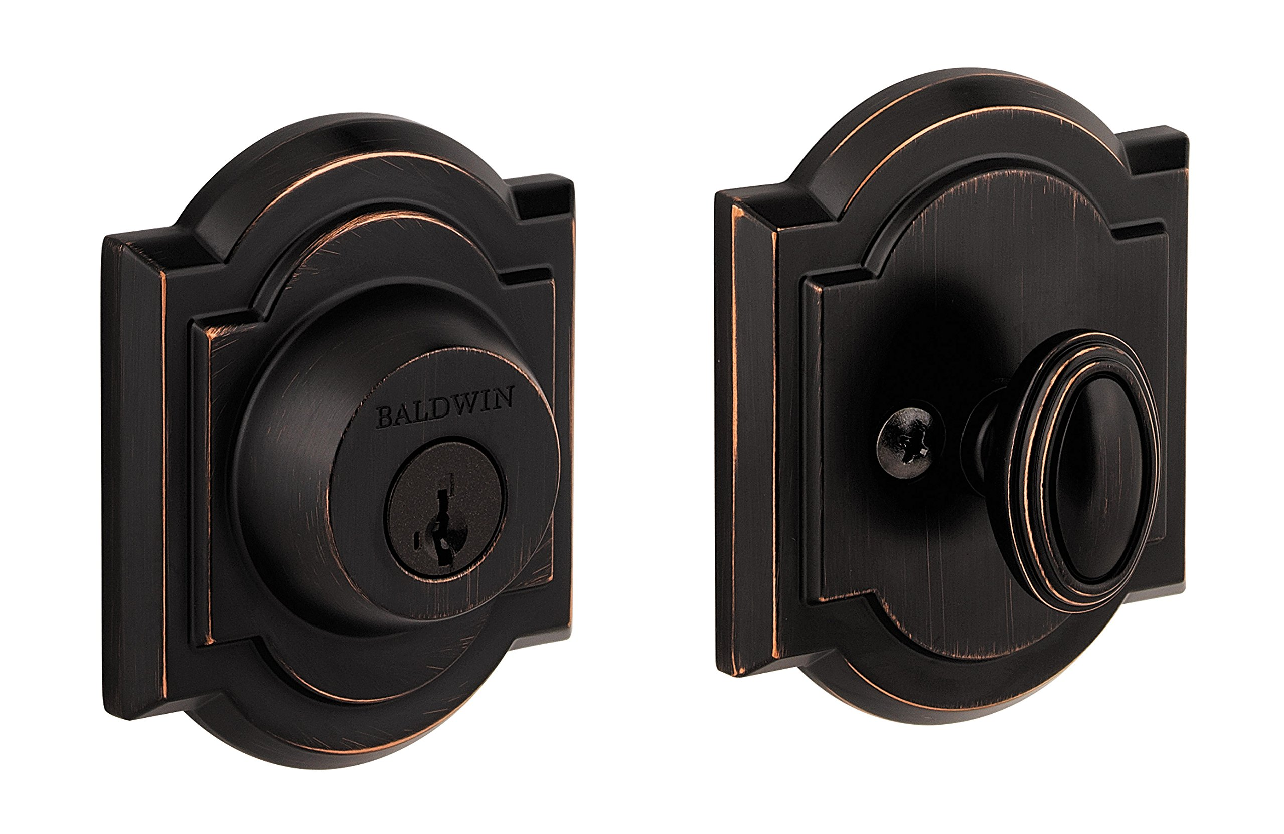Baldwin Prestige 380 Arched Single Cylinder Deadbolt Featuring SmartKey in Venetian Bronze