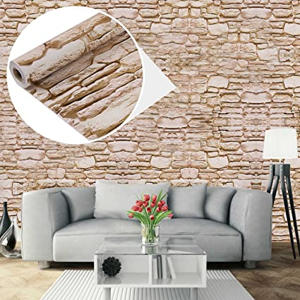 UniqueBella Carta da parati autoadesiva da parete 3D, motivo: mattoni,  impermeabile, rimovibile, per la casa, la cucina, il soggiorno, 0,45 x 10 m