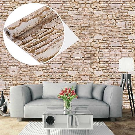 Papel Pintado Papel Pared Autoadhesivo 3D Ladrillo Empapelado Pegatina Mural Paneles Decorativos Wallpaper Extraíble Impermeable Decoración para Hogar ...