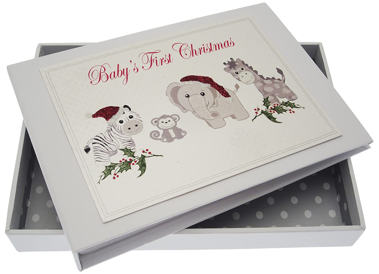 White Cotton Cards Baby's First Christmas Silver Toys Tiny Album XST1T
