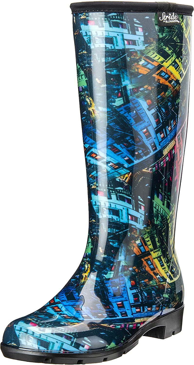 Stride by Sloggers Rain and Fashion Tall Boot with Comfort Insole, Rainbow City print, Style 5519CITY10