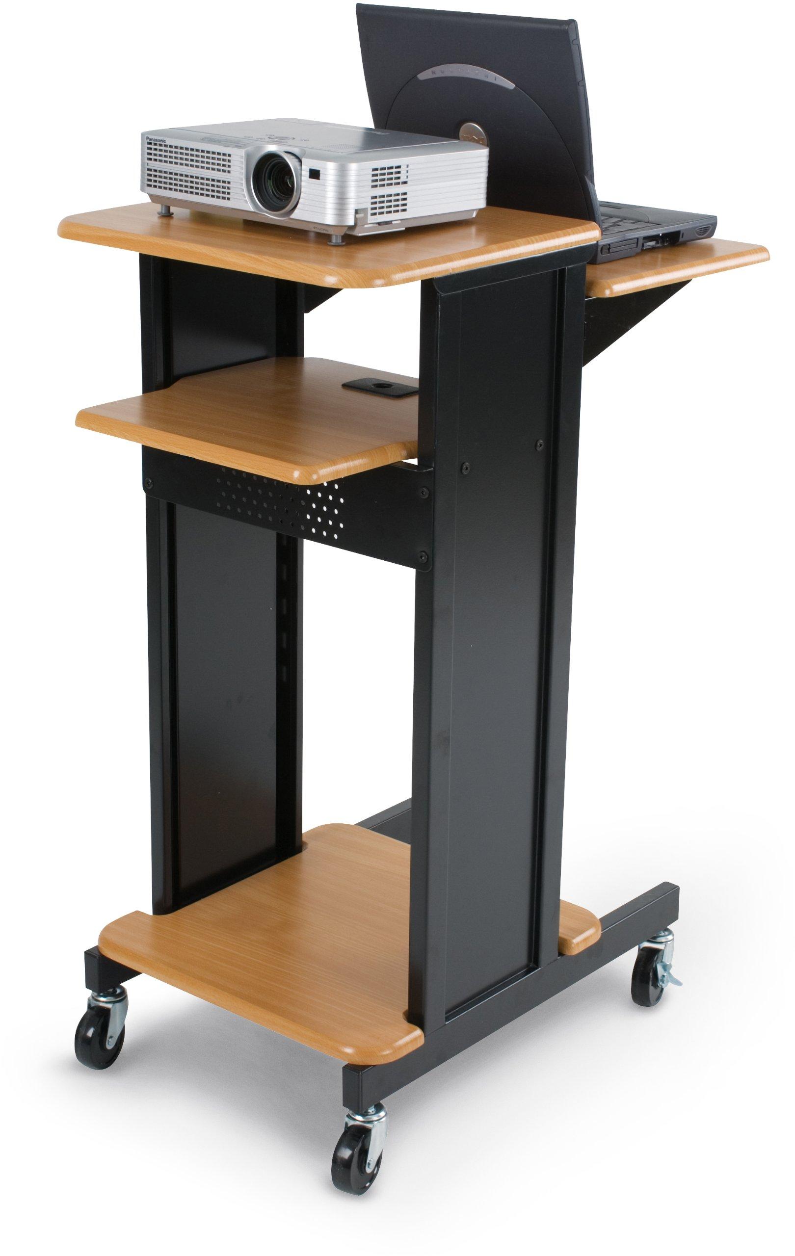 BALT Audio Visual Adjustable Presentation Cart, Teak Black, 40.25''H x 18''W x 30''D (27519)