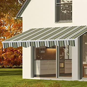 CO-Z Manual Patio Shade Retractable Deck Awning Sun Shade Shelter Canopy (8u0027 & Amazon.com : CO-Z Manual Patio Shade Retractable Deck Awning Sun ...
