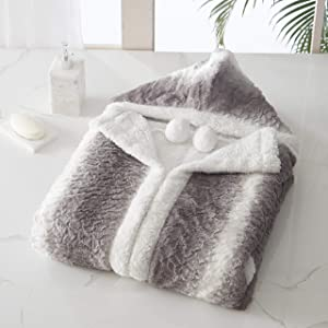 """Chic Home Shadow Snuggle Hoodie Two Tone Animal Pattern Robe Cozy Super Soft Ultra Plush Micromink Coral Fleece Sherpa Lined Wearable Blanket with 2 Pockets Hood Drawstring Closure, 51"""" x 71"""""""