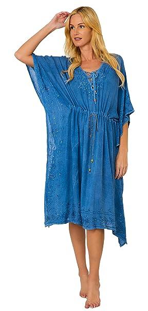 7abf54073cb INGEAR Women s Casual Sun Dress Dresses Summer Beach Slip Sundress and  Bathing Suit Cover Up (Drawstring Denim) at Amazon Women s Clothing store
