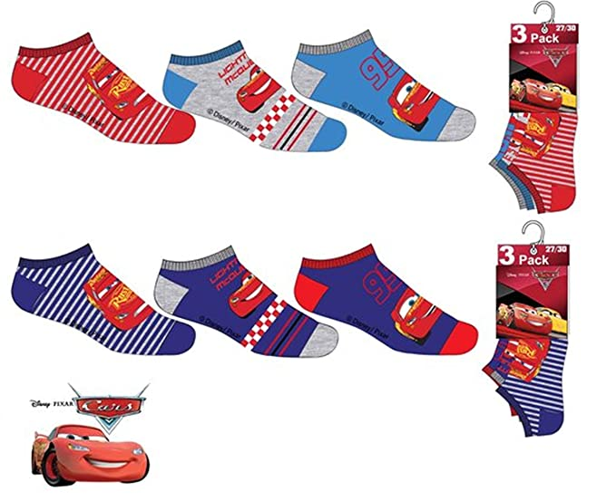 Pack 6 pares de calcetines cortos (tobilleros) 6 modelos diferentes diseño CARS (Disney