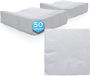 "Amcrate Big Party Pack 125 Count White Beverage Napkins - Ideal for Wedding, Party, Birthday, Dinner, Lunch, Cocktails. (5"" x 5"")"