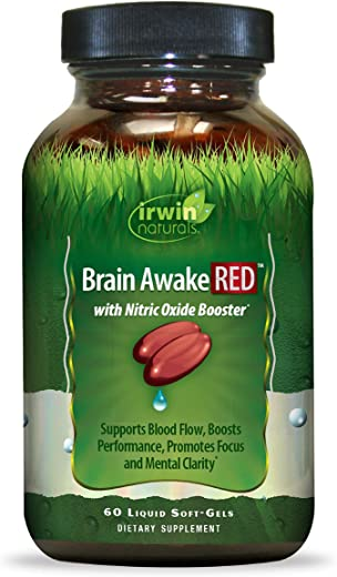 Irwin Naturals Brain Awake Red + Nitric Oxide Boosters Enhanced Performance, Focus & Mental Clarity - Nootropic with L-Citrulline, Ginkgo - 60 Liquid Softgels
