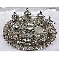 Handmade Copper Ottoman Turkish Coffee Cups Set/6 pcs Arabic Coffee Set Tea Cups Espresso Set Made in Turkey