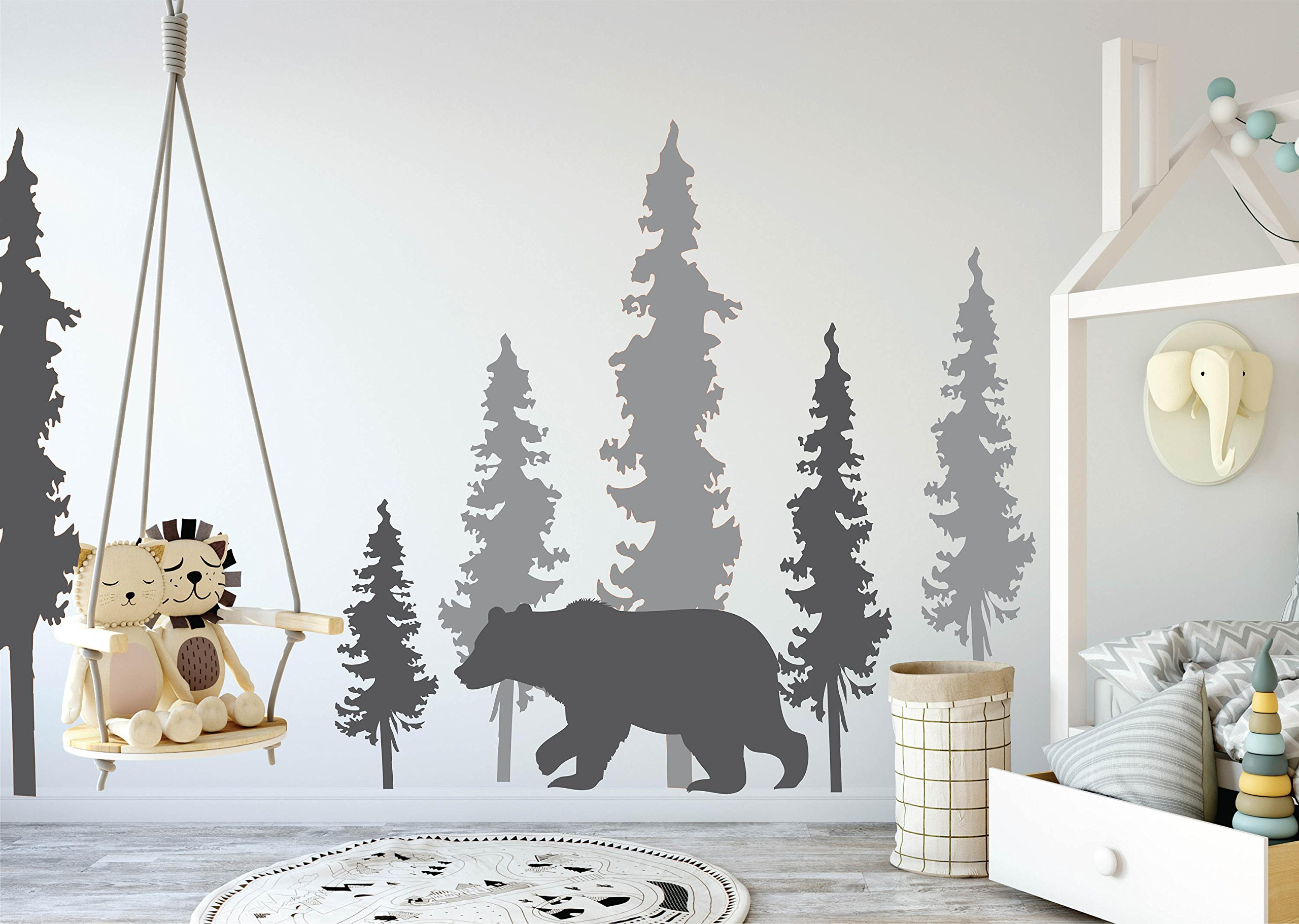 N.SunForest Woodland Wall Decals Pine Trees Bear Decal Woodland Decals Woodland Decor Pine Tree Decals Bear and Trees Decal Woodland Mural