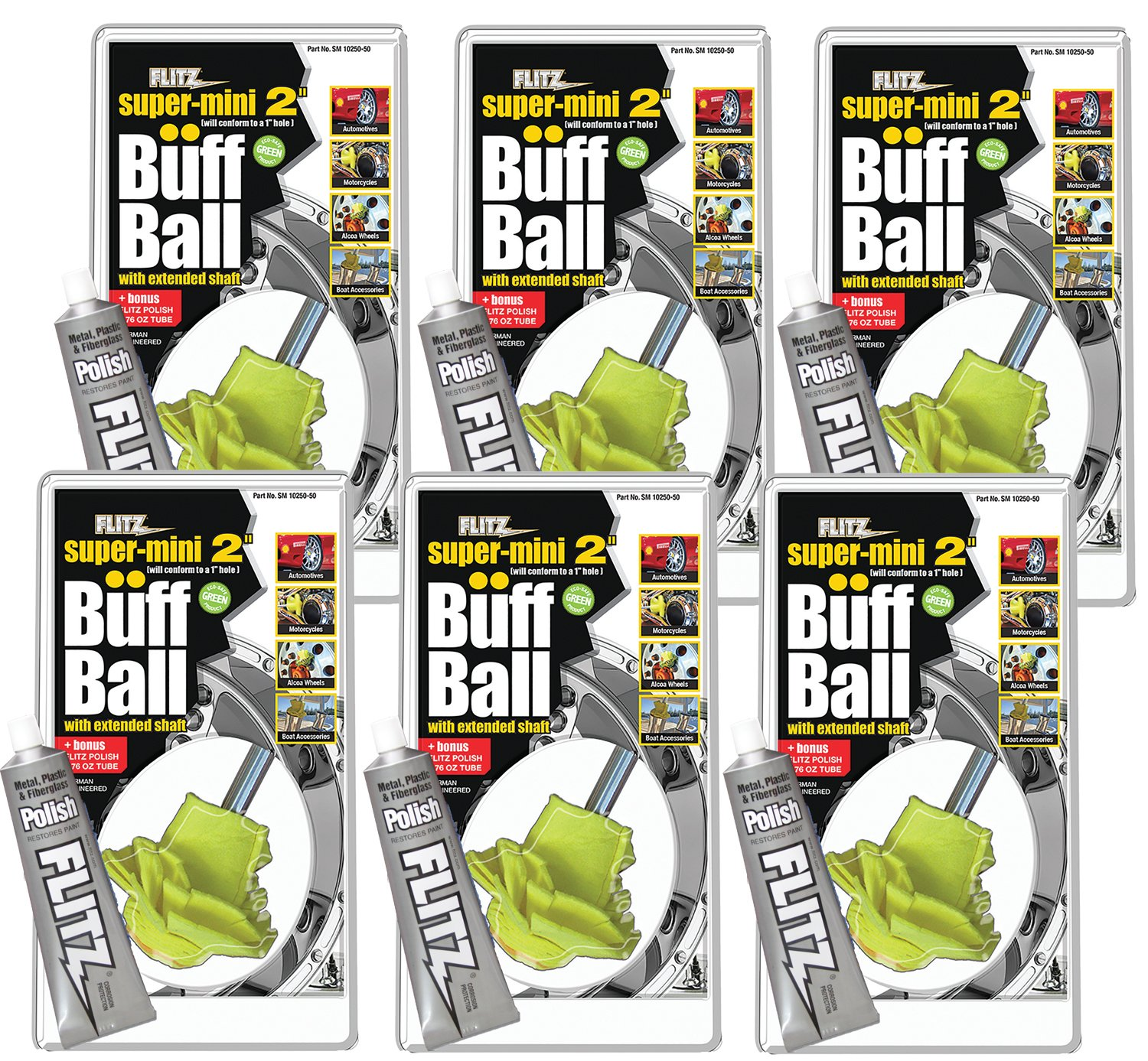 Flitz SM 10250-50 Yellow Original Super Mini Buff Balls in Clamshell, 2-Inch
