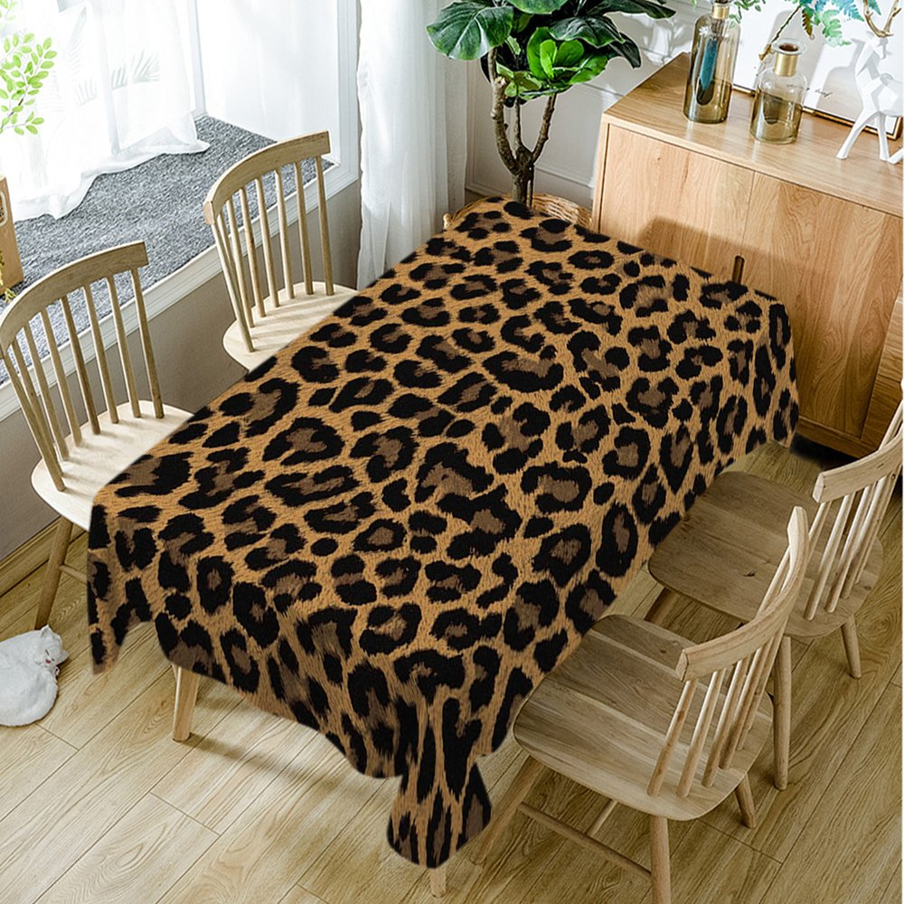 Moslion Brown Tablecloth,Leopard Print Animal Skin Digital Printed Themed Spotted Pattern,Kitchen Dining Room Rectangular Table Cover,60'' W X 90'' L, Brown by Moslion