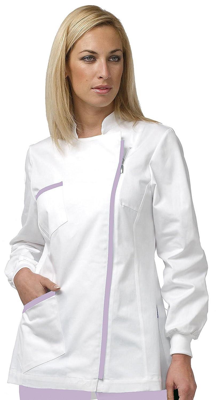 TAGLIA 46 Casacca Donna Bianca Con Inserti Lilla Con Zip Laterale per Dentista Centro Medico Estetica 04CS0809/00-0014