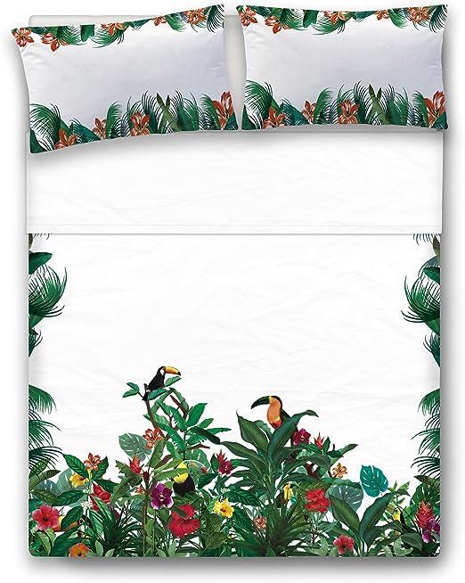 Nomads Toucan Juego de Sábanas, Algodón, Blanco y Verde, Individual, 160x270x1 cm: Amazon.es: Hogar