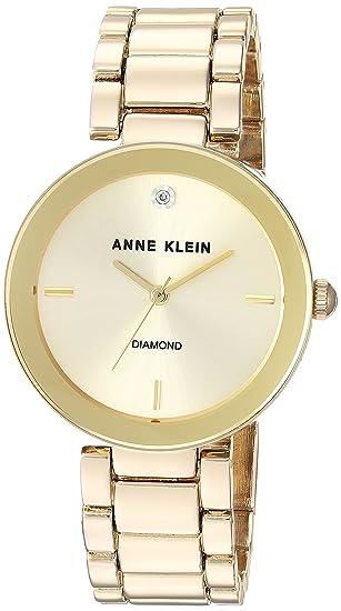 329c26538 Anne Klein Women's AK/1362CHGB Diamond Dial Gold-Tone Bracelet Watch ...