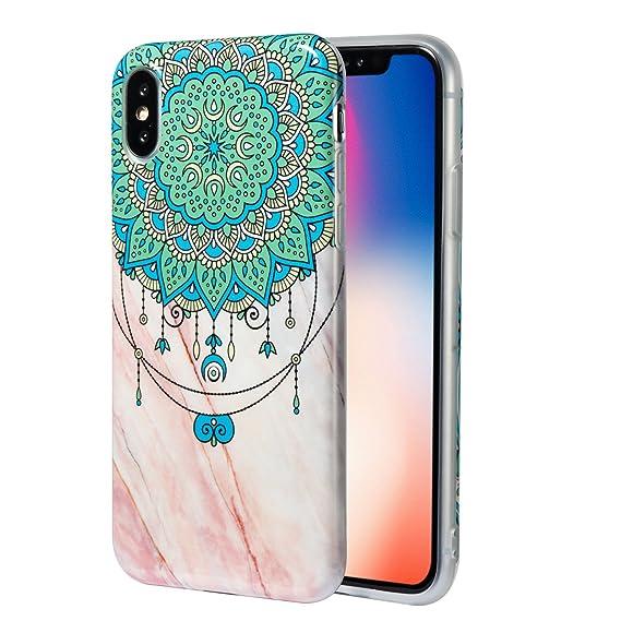 san francisco 971e8 9d503 Amazon.com: Cmeka Marble Case for iPhone XS/X, Clear Bumper Mandala ...