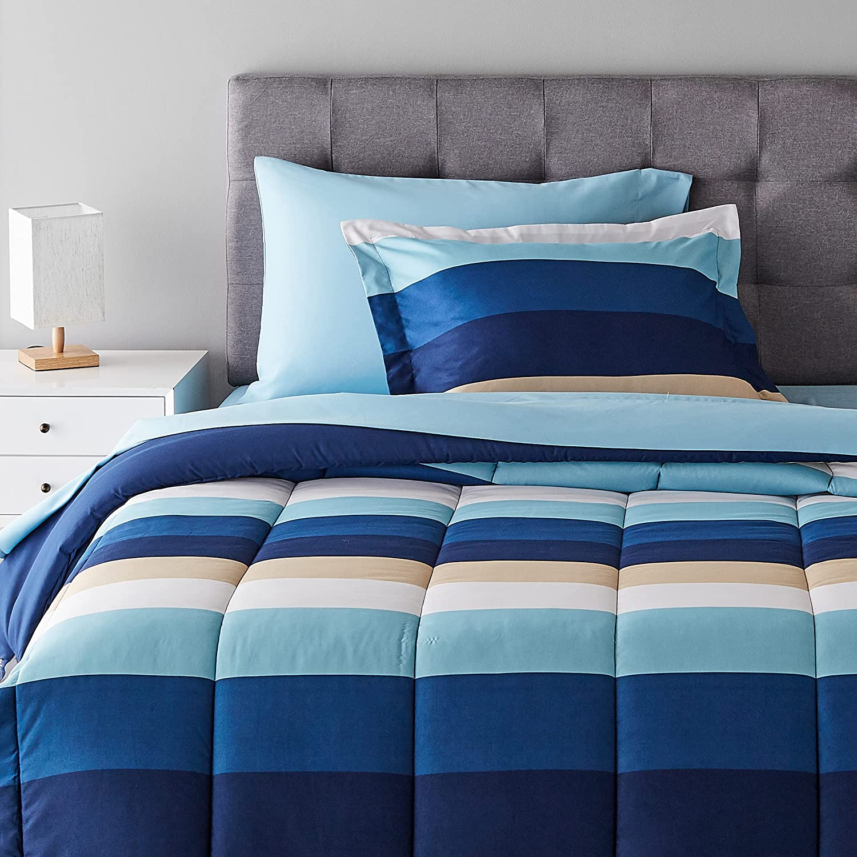 Amazon Basics 5-Piece Light-Weight Microfiber Bed-in-a-Bag Comforter Bedding Set - Twin/Twin XL, Blue Stripe