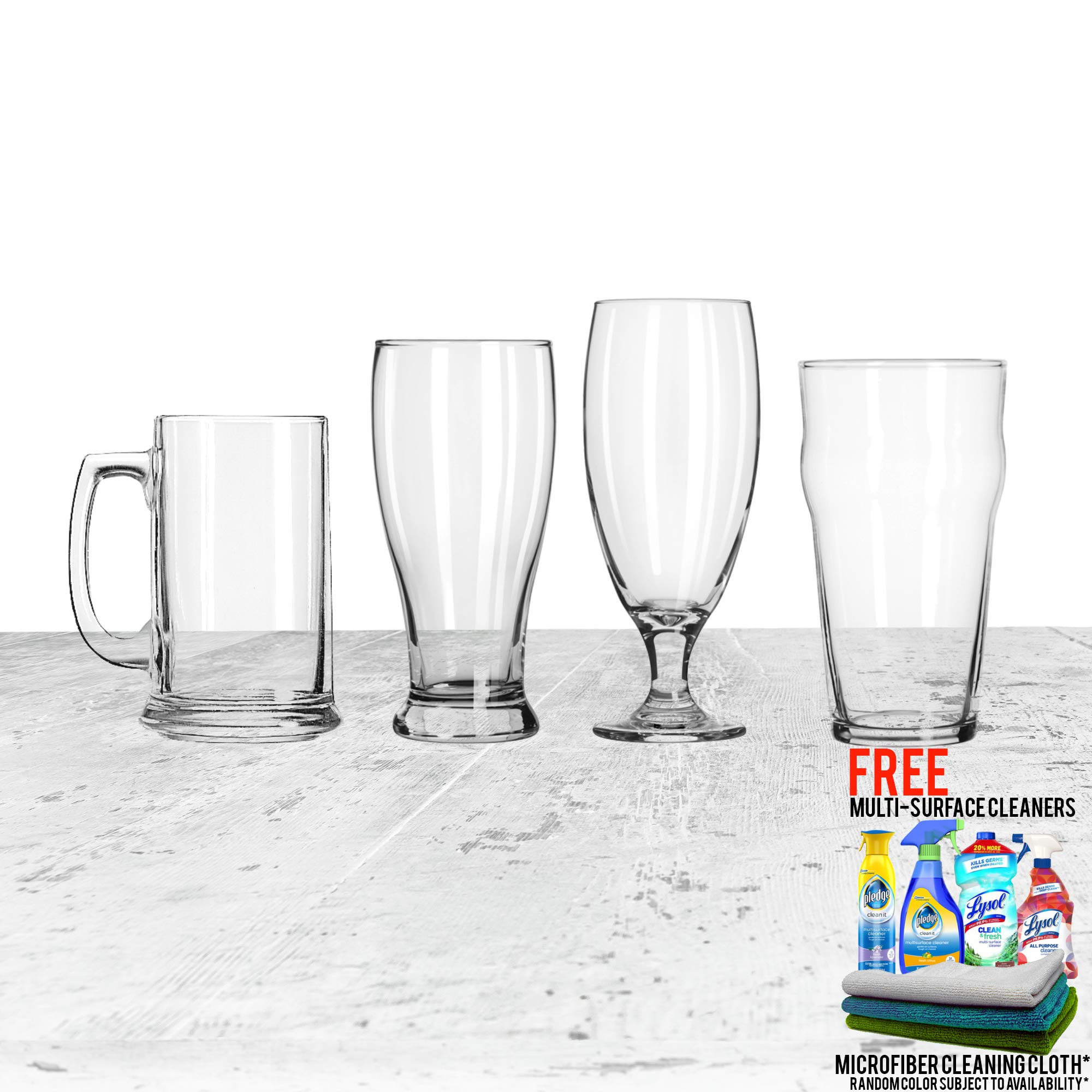 4-Piece Assorted Variety Beer Glass Set, (1 - Classic Pilsner, 1 - English Pub, 1 - Belgian Ale, 1 - Lager Stein) Bundled with Free Microfiber Cleaning Cloth and Multi Surface Cleaner