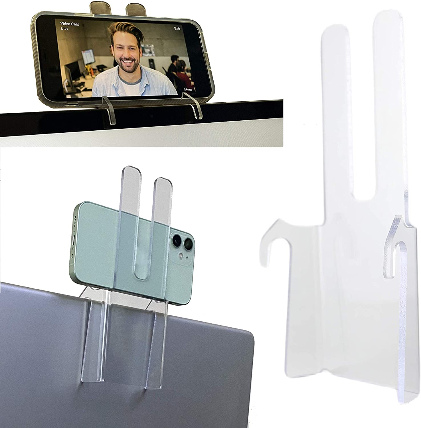 Laptop Cell Phone Mount; Mobile Phone Stand for top of Laptop; Face Height Cellular Phone Holder