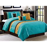 7-Pc Leaves Embossed Pleated Ruffled Striped Comforter Set Turquoise Blue Gold Brown Queen