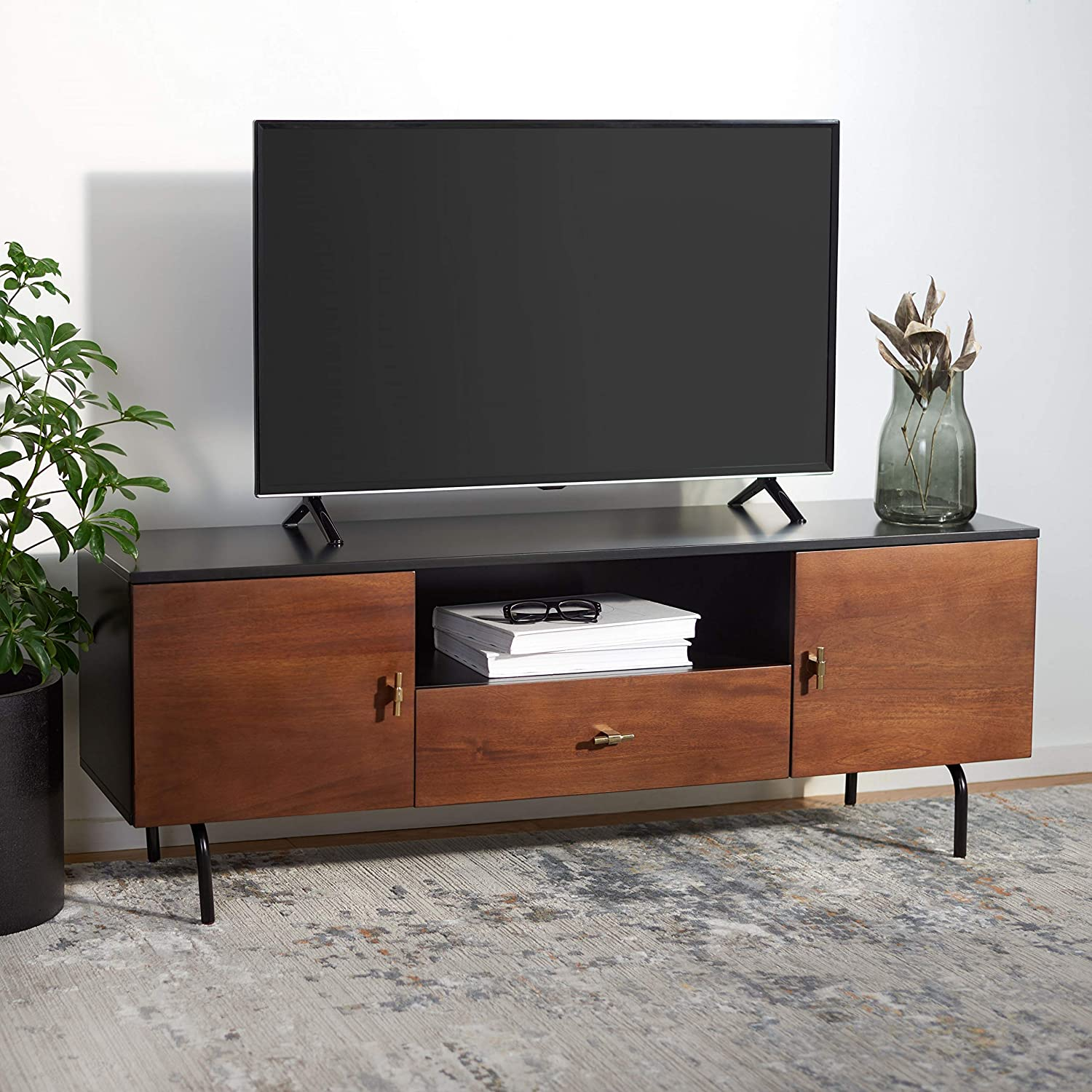 Safavieh Black/Walnut Home Collection Genevieve Media Stand (up to 60-inch Flat Screen TV), 54
