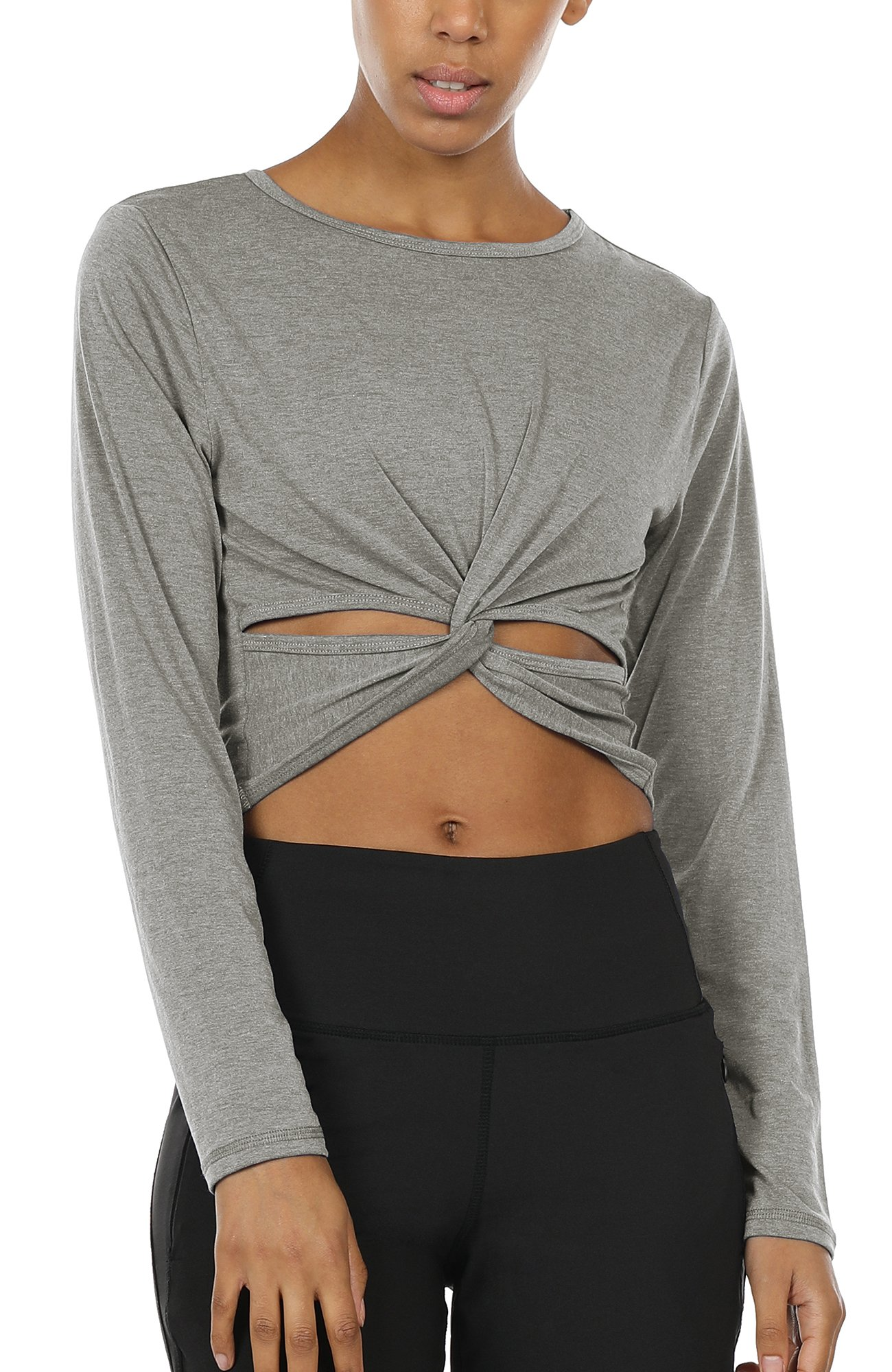 icyzone Long Sleeve Cross Wrap Crop Tops T-shirts for Women Stretchy Slim Fit (Grey, M)