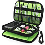 Cable Organizer Bag, Jelly Comb Electronic Accessories Travel Organizer Bag Waterproof USB Cable Storage Bag for Charging Cable, Cellphone, iPad mini and More-(Black and Green)