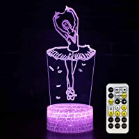 Ballet Night Light Kids Bedside Lamp Ballerina Gifts 7 Colors Changing with Smart Touch & Remote Control & Timer for…