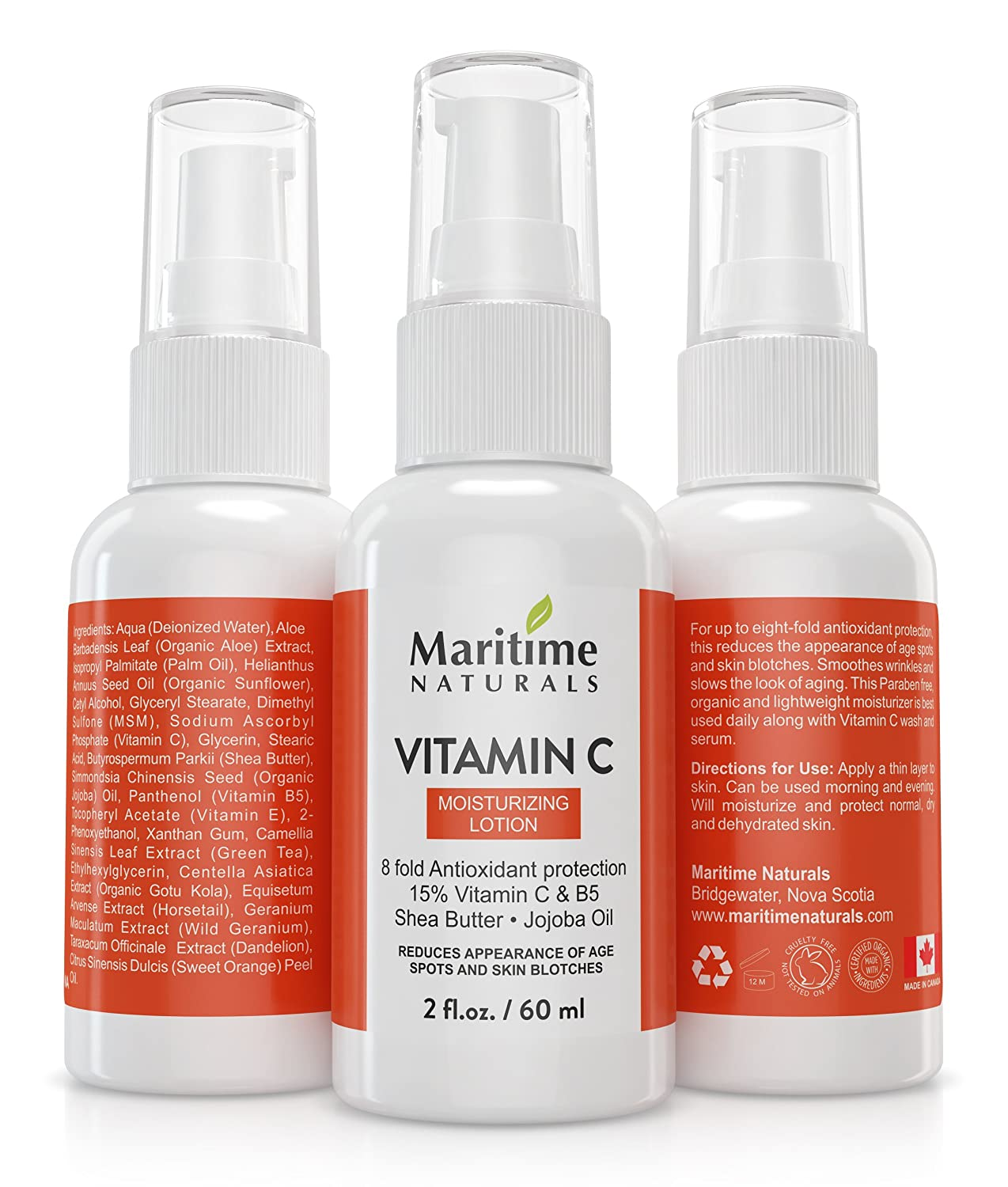 Moisturizing Lotion with 15% Vitamin C By Maritime Naturals: Skin Care Moisturizer With Organic Ingredients, Anti-Aging Formula, Fade Wrinkles And Spots, Smooth Texture,Vegan,Paraben FreeFor All Skin Types