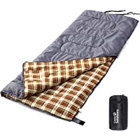 Camp Solutions XL +23F Flannel Lined Sleeping Bag 3 Seasons Lightweight Portable - Great For Traveling, Camping, Hiking, Office nap