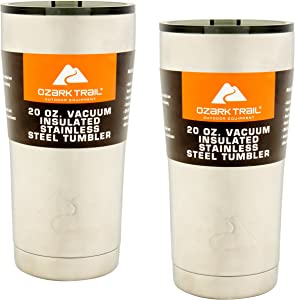 Ozark Trail 20-Ounce Double-Wall, Vacuum-Sealed Tumbler (2, Stainless Steel)