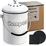 Rorence Stainless Steel Compost Bin: White Indoor Compost Bucket for Kitchen Countertop Includes Charcoal Filter - 1.3 Gallon