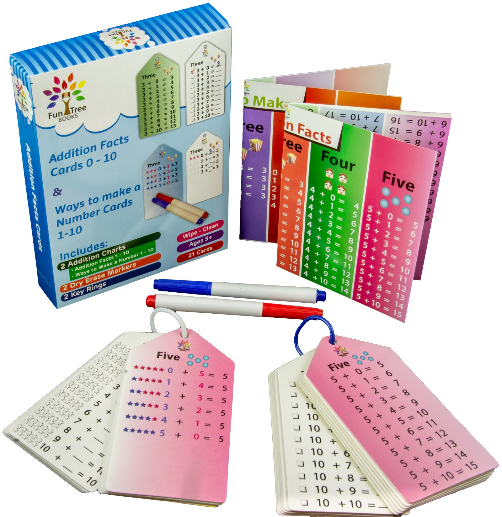 Fun Tree Books 2 Addition Flash Cards Sets with 2 Key Rings and Bonus 2 Markers and 2 Charts or Posters